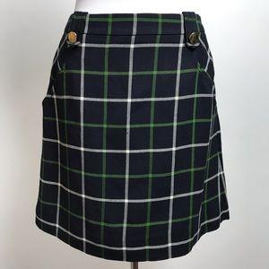 Kate Spade Plaid Fallon Skirt Buttons Wool Blend